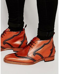 Botas safari de cuero rojas de Jeffery West