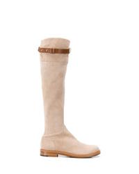 Botas sobre la rodilla de ante en beige de Ermanno Scervino