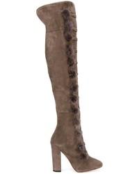 Botas sobre la rodilla de ante en gris oscuro de Aquazzura