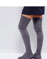 Botas sobre la rodilla de ante en gris oscuro de ASOS DESIGN