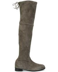 Botas sobre la rodilla de ante en gris oscuro de Baldinini