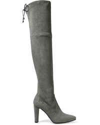 Botas sobre la rodilla de ante en gris oscuro de Stuart Weitzman