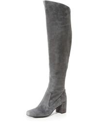 Botas sobre la rodilla de ante en gris oscuro de Vince