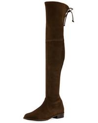 Botas sobre la rodilla de ante en marrón oscuro