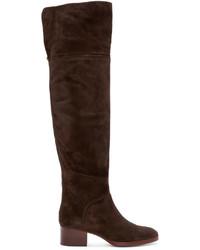 Botas sobre la rodilla de ante en marrón oscuro de Chloé
