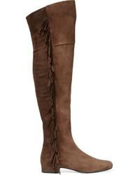 Botas sobre la rodilla de ante en marrón oscuro de Saint Laurent