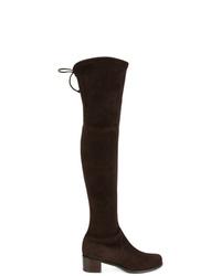 Botas sobre la rodilla de ante en marrón oscuro de Stuart Weitzman
