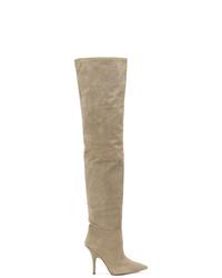 Botas sobre la rodilla de ante grises de Yeezy