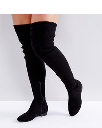 Botas sobre la rodilla de ante negras de ASOS DESIGN
