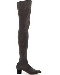 Botas sobre la rodilla de ante negras de Charlotte Olympia