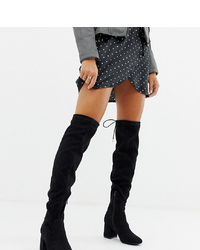 Botas sobre la rodilla de ante negras de New Look Wide Fit