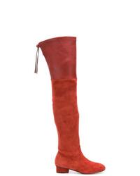 Botas sobre la rodilla de ante rojas de Stuart Weitzman