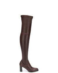 Botas sobre la rodilla de cuero en marrón oscuro de Stella McCartney