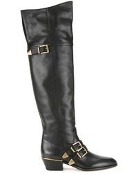 Botas sobre la rodilla de cuero negras de Chloé