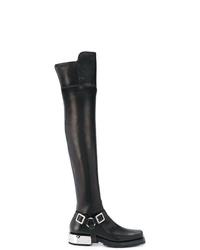 Botas sobre la rodilla de cuero negras de Ermanno Scervino