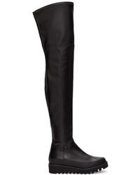 Botas sobre la rodilla de cuero negras de Marcelo Burlon County of Milan