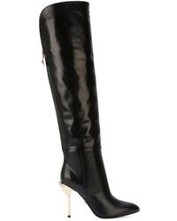 Botas sobre la rodilla de cuero negras de Versace