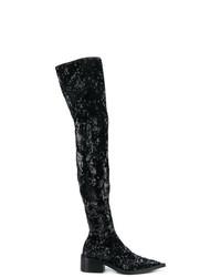 Botas sobre la rodilla de lentejuelas negras de MM6 MAISON MARGIELA