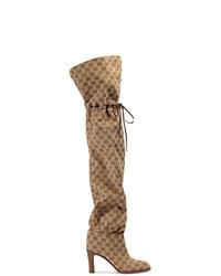 Botas sobre la rodilla de lona marrónes de Gucci
