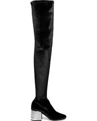 Botas sobre la rodilla de terciopelo negras de MM6 MAISON MARGIELA