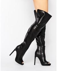 Botas sobre la rodilla negras de Missguided