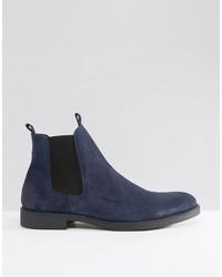 f895f9563 ... Botines chelsea de ante azul marino de Zign Shoes