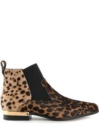 Botines chelsea de ante de leopardo marrón claro