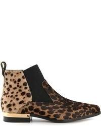 Botines chelsea de ante de leopardo marrónes