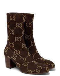 Botines chelsea de ante en marrón oscuro de Gucci