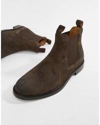 Botines chelsea de ante en marrón oscuro de Polo Ralph Lauren