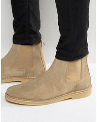 Botines Chelsea de Ante Marrón Claro de Zign Shoes