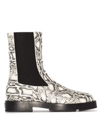 Botines chelsea de cuero con print de serpiente blancos de Givenchy