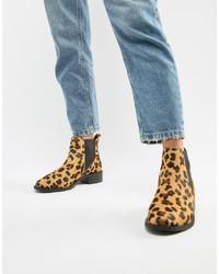 Botines chelsea de cuero de leopardo amarillos de Accessorize