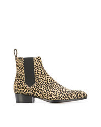 Botines chelsea de cuero de leopardo marrón claro