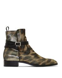 Botines chelsea de cuero de leopardo marrón claro de Christian Louboutin