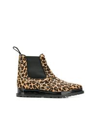 Botines chelsea de cuero de leopardo marrón claro de Sacai