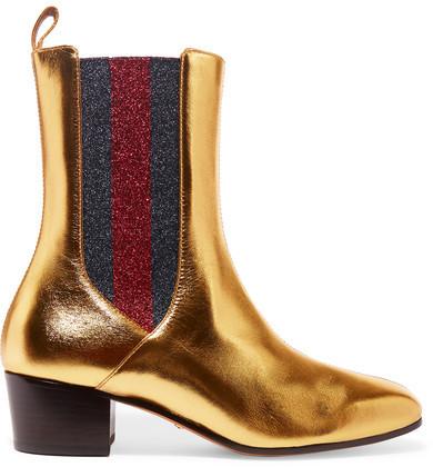 ... Botines chelsea de cuero dorados de Gucci ... c608c6d9786
