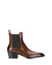 Botines chelsea de cuero en marrón oscuro de Tom Ford