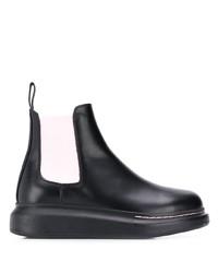 Botines chelsea de cuero gruesos negros de Alexander McQueen