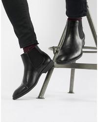 Botines chelsea de cuero negros de New Look