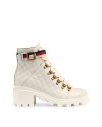 Botines con cordones de cuero blancos de Gucci