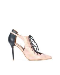 Botines con cordones de cuero con recorte rosados de Malone Souliers