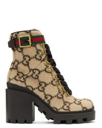 Botines con cordones de cuero estampados marrón claro de Gucci