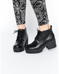 Botines con cordones de cuero gruesos negros de Asos