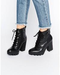 Botines con Cordones de Cuero Gruesos Negros de Calvin Klein Jeans