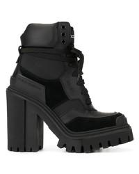 Botines con cordones de cuero gruesos negros de Dolce & Gabbana