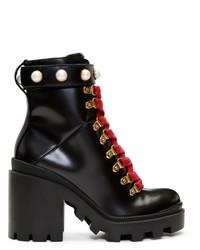Botines con cordones de cuero gruesos negros de Gucci