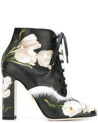 Botines con cordones de cuero negros de Dolce & Gabbana