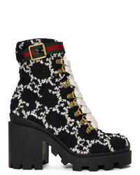 Botines con cordones de cuero negros de Gucci