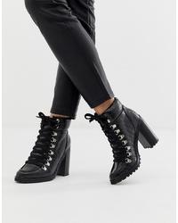 Botines con cordones de cuero negros de New Look